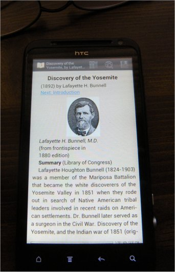 ''Discovery of the Yosemite'' ebook with FBReader on a HTC Evo smartphone