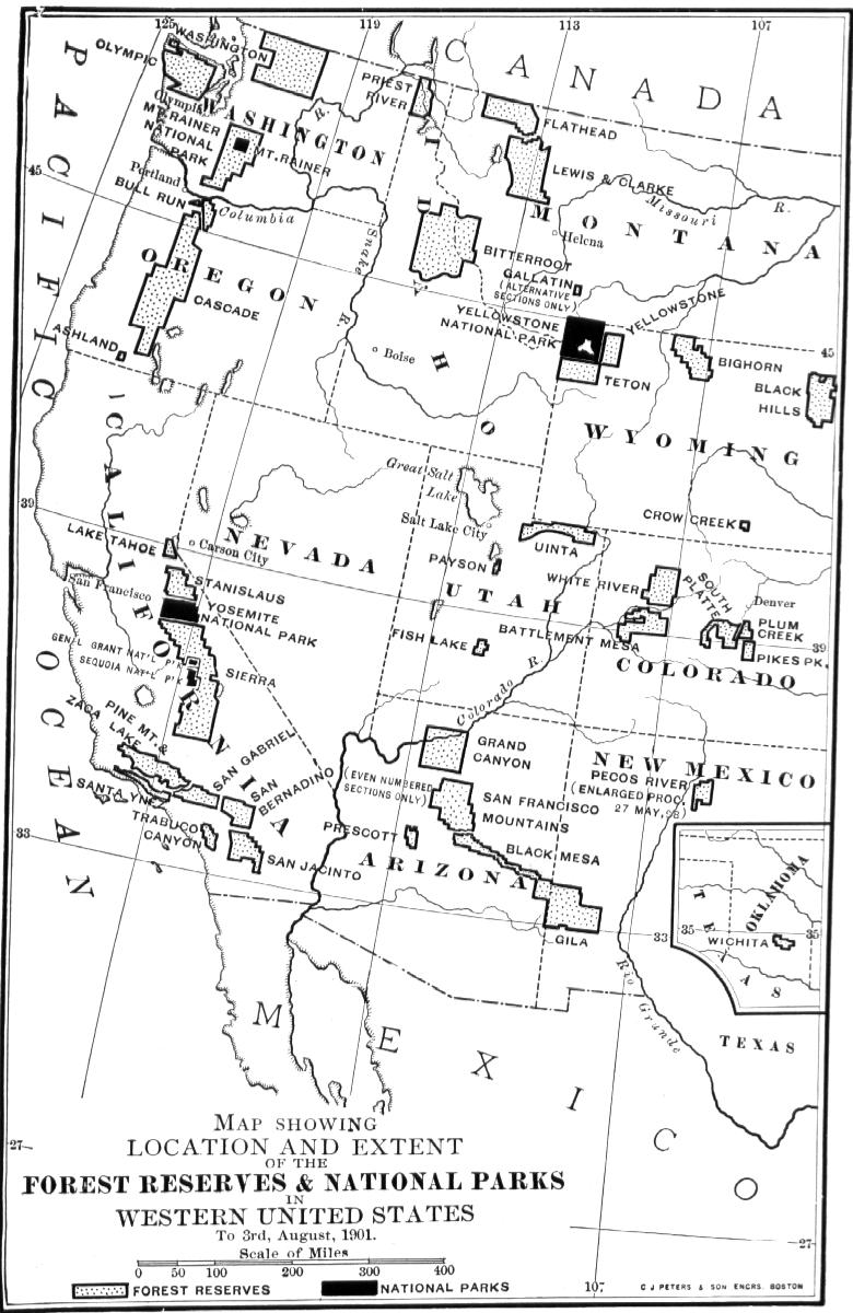 Our National Parks By John Muir C John Muir - Map western us national parks
