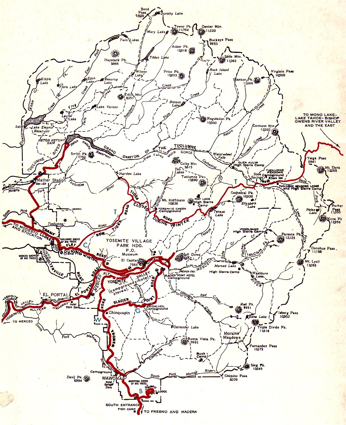 Yosemite National Park Map Of Routes Covered By This Self Guiding Auto Tour