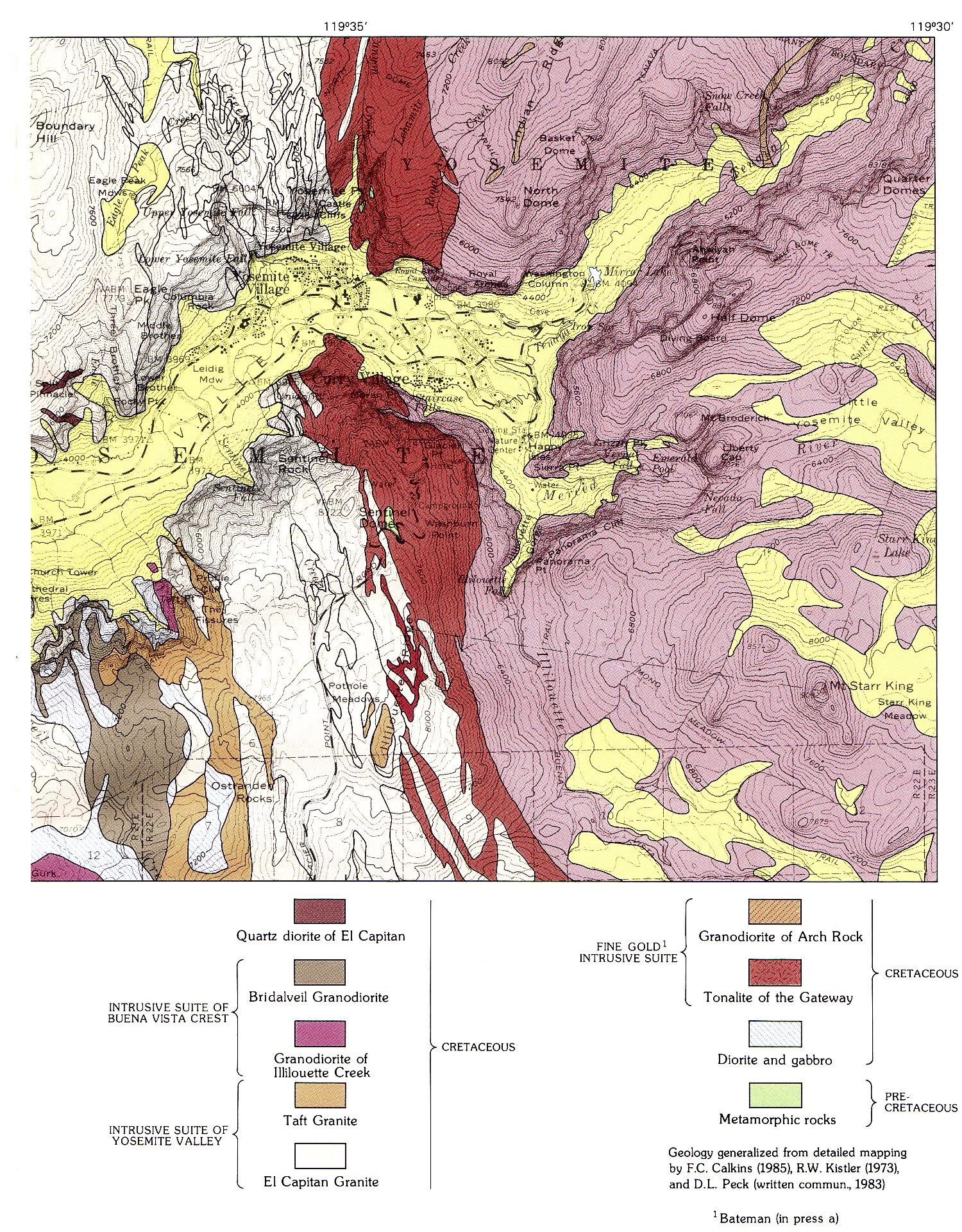 The Geologic Story Of Yosemite National Park Geologic - Eastern half of us map
