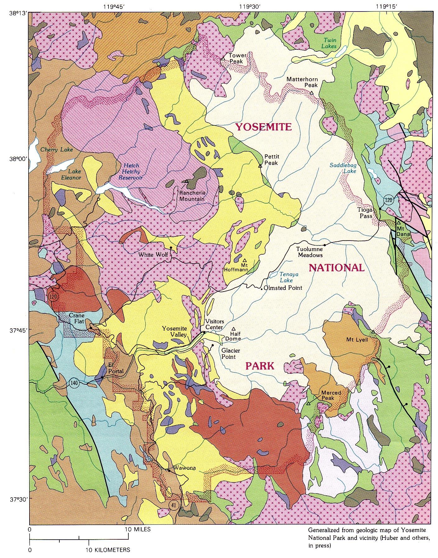 The Geologic Story Of Yosemite National Park Geologic - Yosemite national park on us map