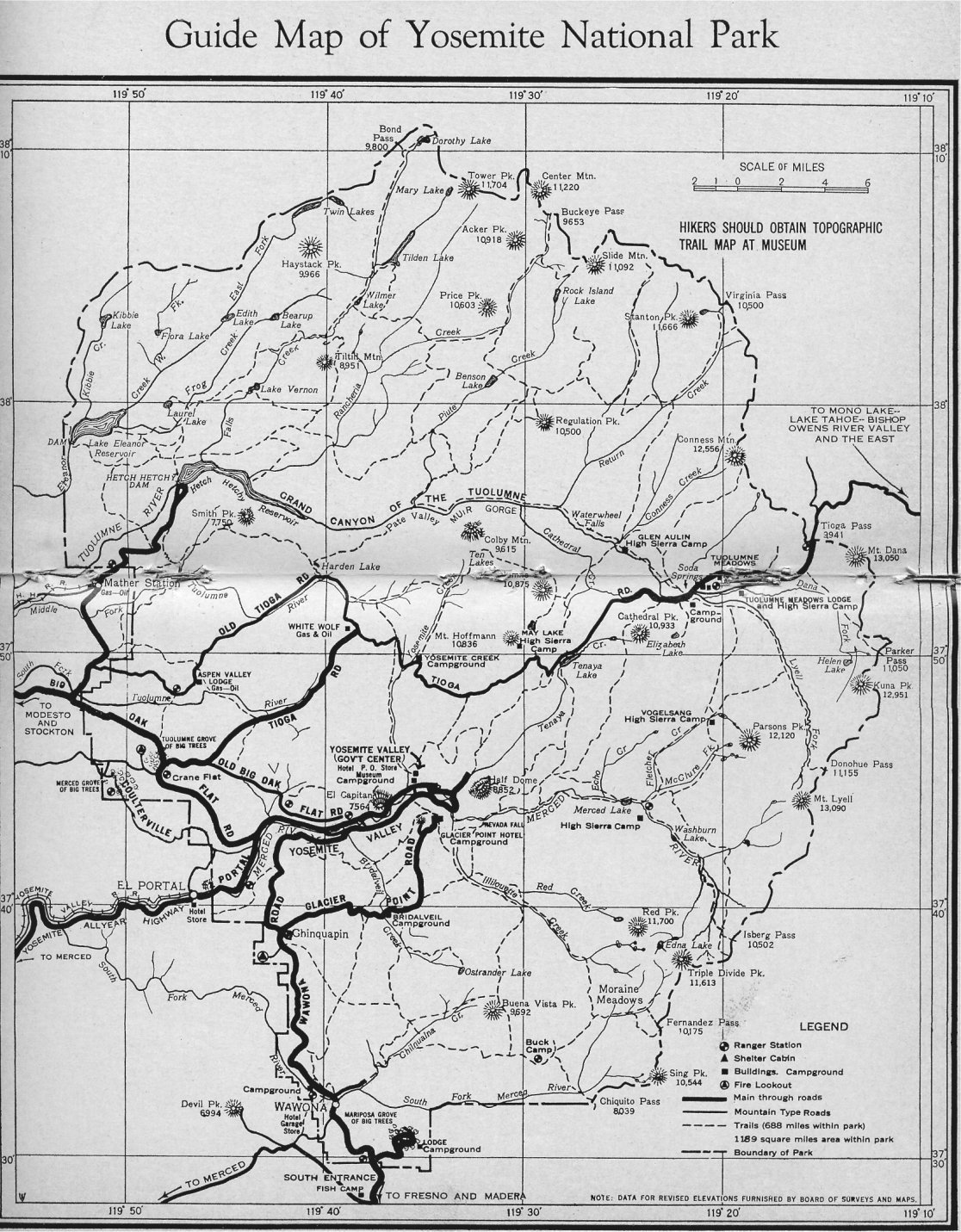 Yosemite Historic Maps Library Online 61 Willys Utility Wagon Wiring Diagram 1961 Not Dated Map Appears To Be In The Mid 1950s Exact Also Reprinted John W Bingaman Pathways 1968