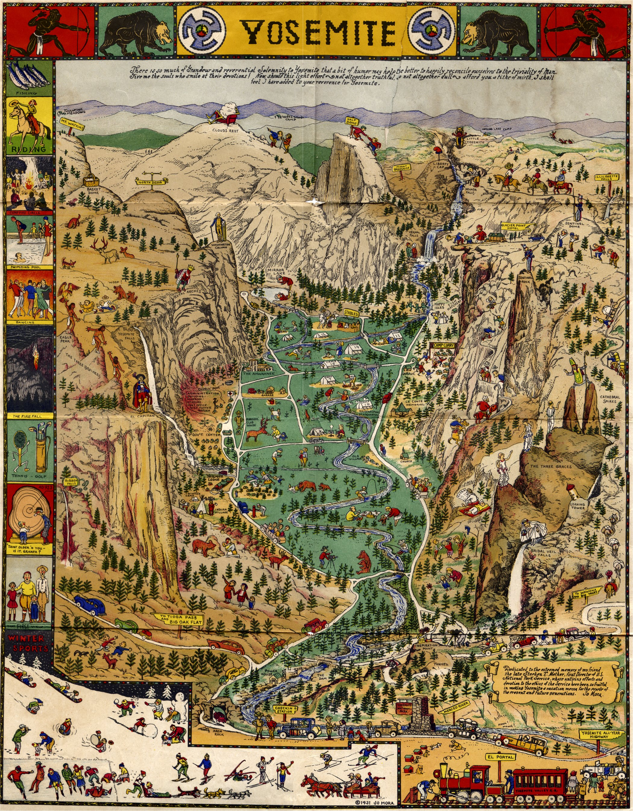 Yosemite Valley Pictorial Map By Jo Mora 1931