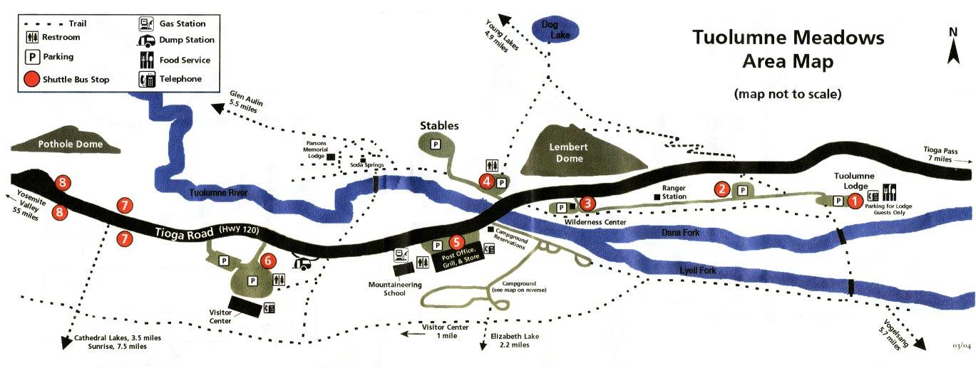 Tuolumne Meadows Area Map Road