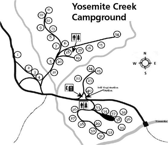 Yosemite Creek Campground Reviews Yosemite Creek Campground Map