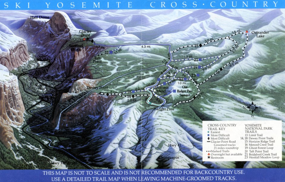 Yosemite Cross Country Ski Map Badger Pass Glacier Point Road Area