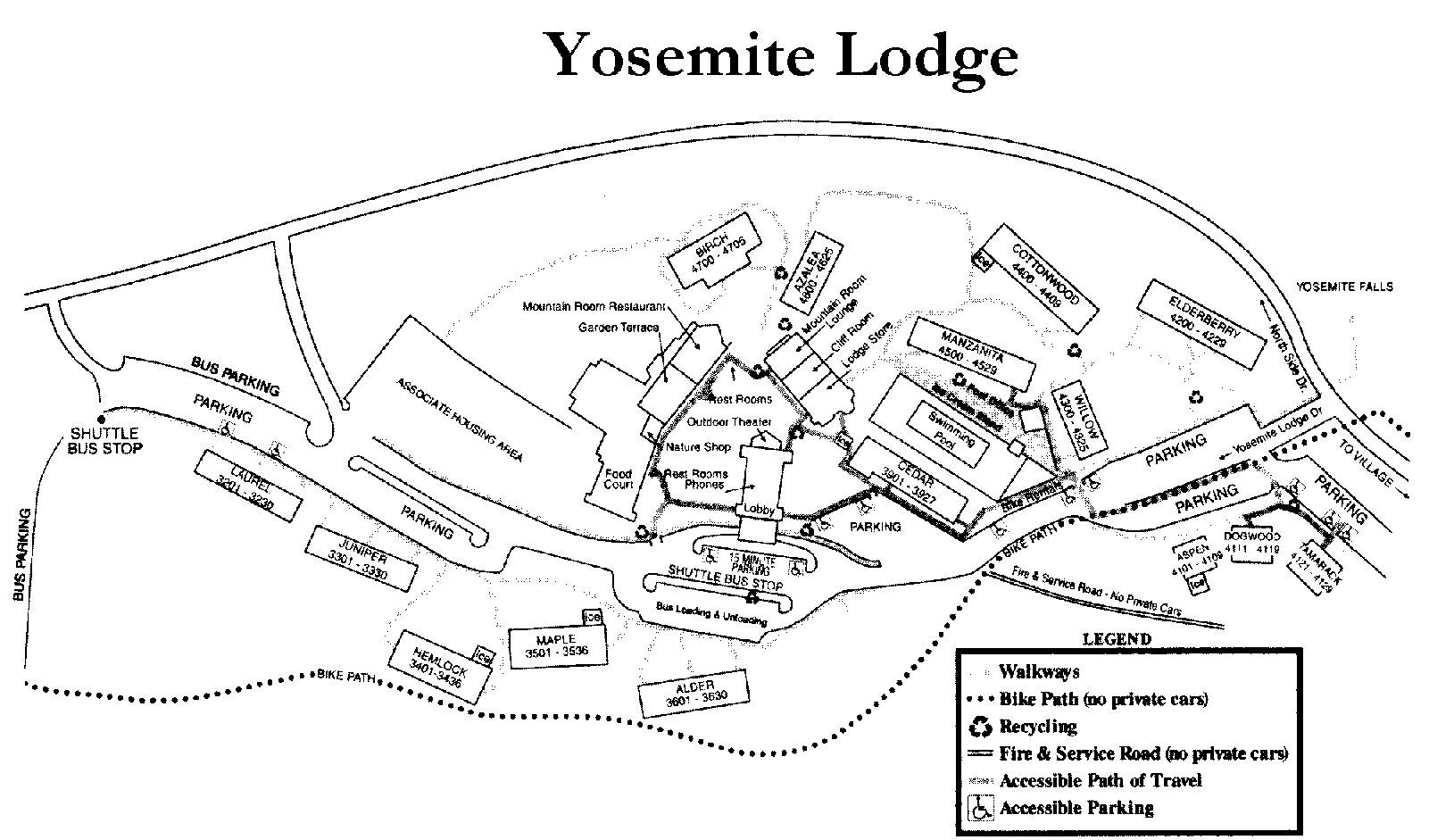 Yosemite National Park Hotel Maps - Us hotel map