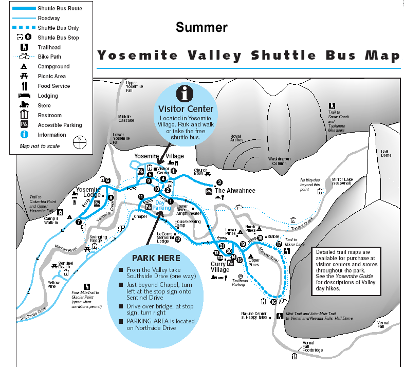 Yosemite Valley Shuttle Bus Map Summer Route